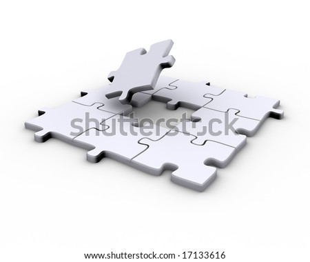 Jigsaw puzzle with a missing piece to complete