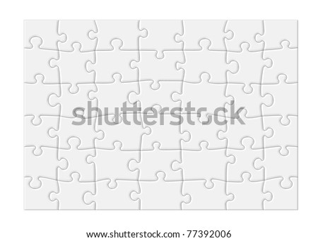 Jigsaw puzzle with blank white pieces and a modern feel, isolated on white background with clipping path around outside of the puzzle. - stock photo