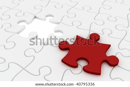 Jigsaw puzzle with red color