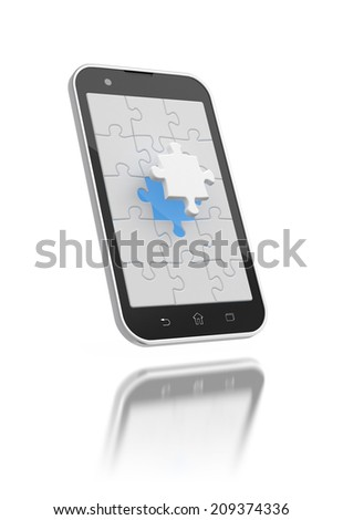 Jigsaw puzzles on the smartphone screen 3d illustration. - stock photo