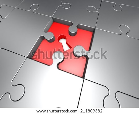 jigsaw puzzles problem and solution concept illustration - stock photo