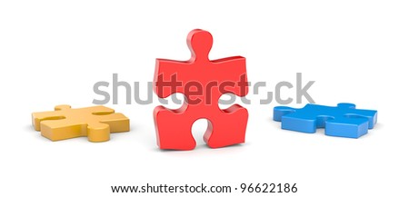 Jigsaw puzzles. Success metaphor