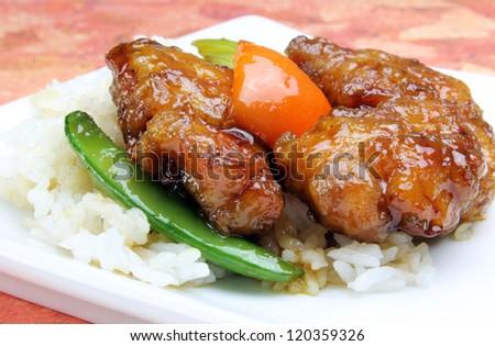 Jim's General Tso's Chicken Dinner - stock photo