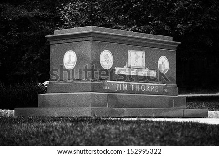 JIM THORPE, PA - SEPTEMBER 1: Jim Thorpe's memorial in the town of Jim Thorpe on September 1, 2013. The controversy regarding whether his remains should be moved to Oklahoma continues to this day.   - stock photo