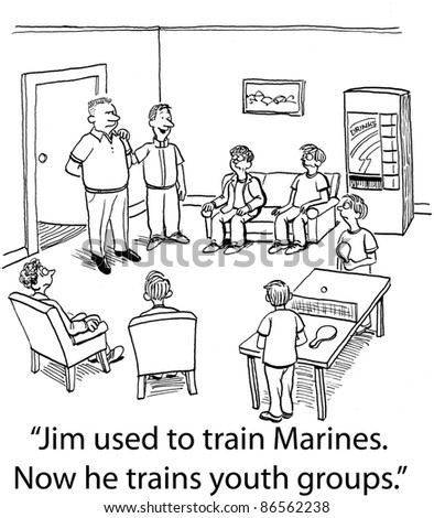 Jim used to train Marines.  Now he trains youth groups. - stock photo