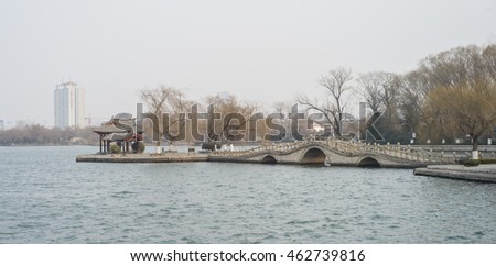 Jinan, China - February 13 2016: The winter scene in famous Daming Lake in Jinan, China.