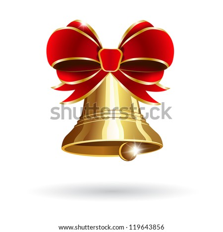 Jingle bell with red bow on a white background. Raster version - stock photo