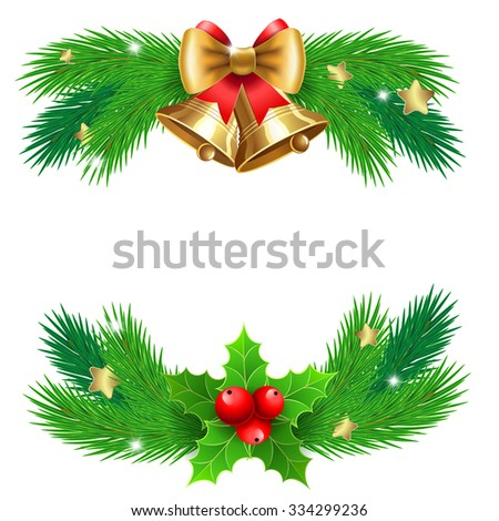 Jingle bells with  bow and fir tree branches. For  posters, icons, greeting cards, print projects.  Raster version - stock photo
