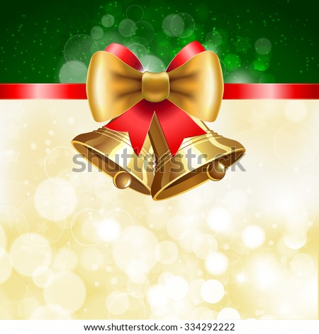 Jingle bells with  bow on shining background. Illustration for  posters, icons, greeting cards, print projects. Raster version - stock photo