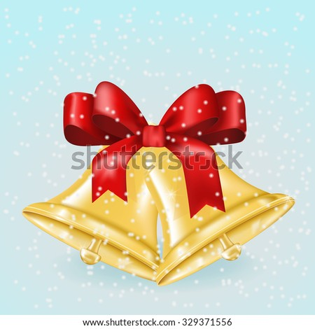 Jingle bells with red bow. Christmas decoration on winter background. Raster version. - stock photo