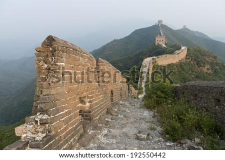 Jinshanling to Simatai section of Great Wall Of China, Miyun County, Beijing, China - stock photo