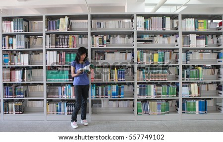 JIUJIANG CHINA-Oct4, 2012:in the eastern province of Jiangxi, college students in the library of Jiujiang University. Chinese college students reached 37 million people, ranking first in the world