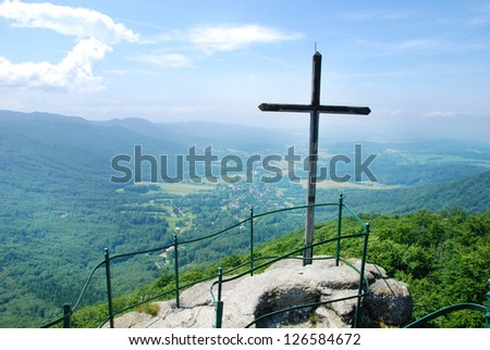 Jizerske mountains in the Czech Republic. View from the outlook point with a cross - stock photo