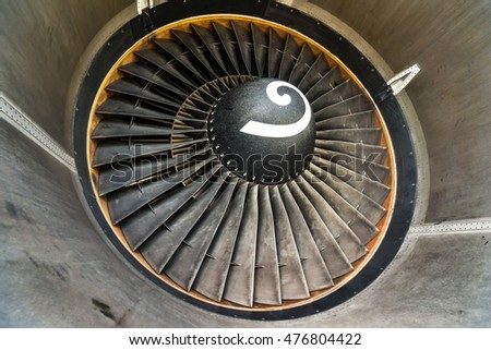 Jjet engine blades closeup view