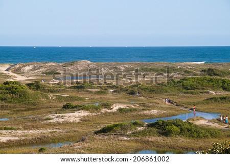 Joaquina trail with a view for ocean horizon in Florianopolis - Santa Catarina - Brazil - stock photo