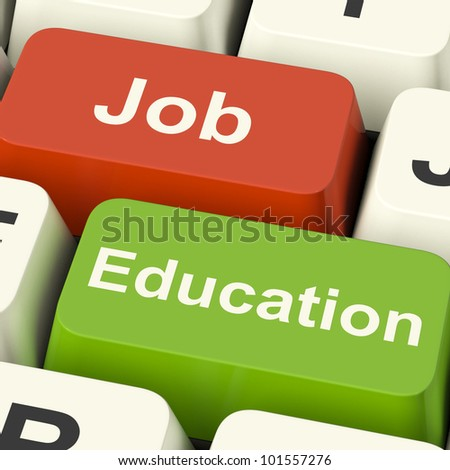 Job And Education Computer Keys Shows Choice Of Working Or Studying - stock photo