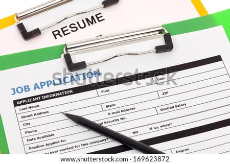 Job application and resume - stock photo