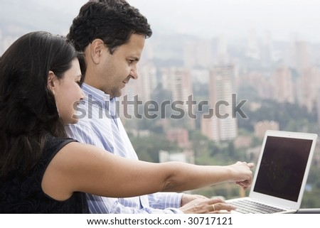Job at home, lovely couple working at home
