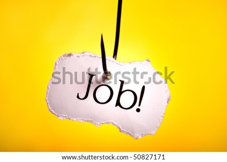 Job concept catch on hook - stock photo