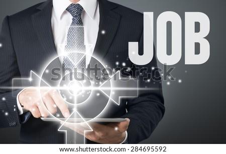 Job, hand, tecnology. - stock photo