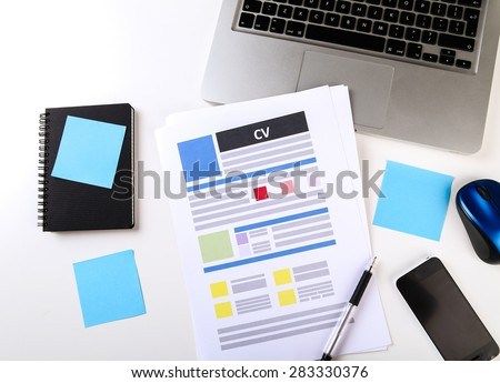 Job, interview. CV on the table - stock photo