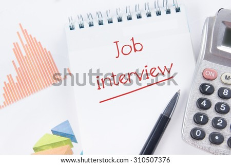 Job interview - Financial accounting stock market graphs analysis. Calculator, notebook with blank sheet of paper, pen on chart. Top view - stock photo