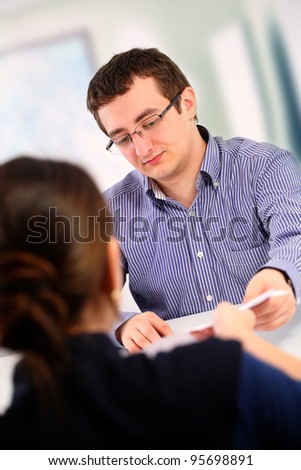 Job interview; two people - stock photo