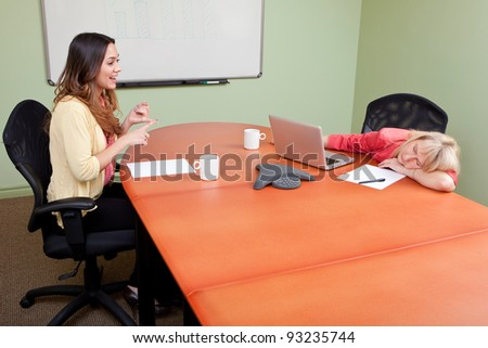 Job Interview with a chatterbox - stock photo