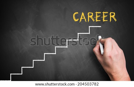 job ladder symbolizing a way of the career - stock photo