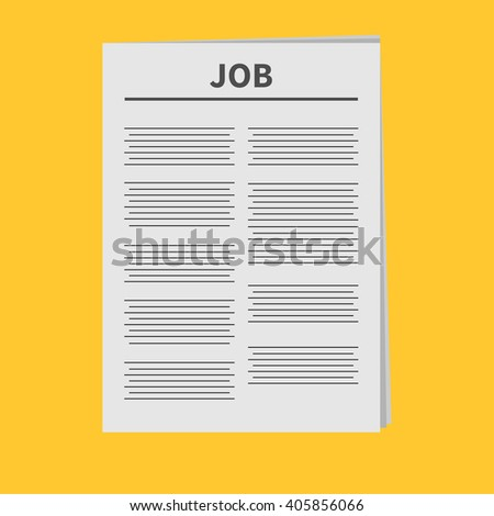 Job Newspaper icon Flat design Isolated Yellow background - stock photo