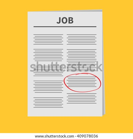 Job Newspaper icon Red pen skrible mark Flat design Isolated Yellow background  - stock photo