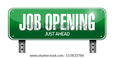 job opening road sign illustration design over a white background - stock photo
