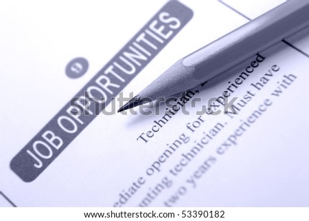 Job Opportunity Classified Advertising with Yellow Pencil - stock photo