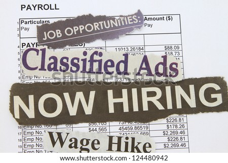 Job payroll with newspaper cut out concept