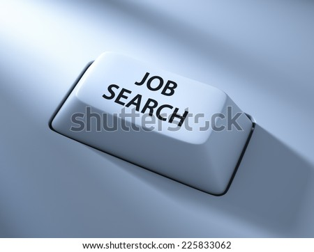 Job Search , computer key , blue toned with soft light - stock photo