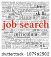 Job search concept in word tag cloud on white background - stock vector