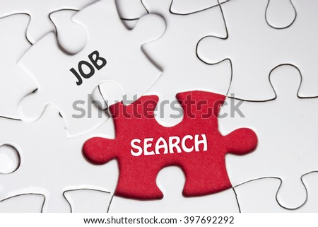JOB search. Missing Piece Jigsaw Puzzle with word - stock photo
