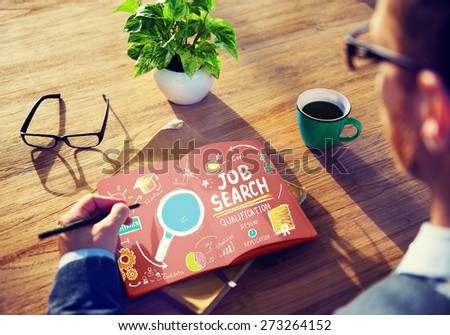 Job Search Qualification Resume Recruitment Hiring Application Concept - stock photo