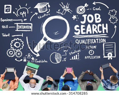 Job Search Qualification Resume Recruitment Hiring Stock Photo ...