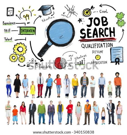 Job Search Qualification Resume Recruitment Hiring Stock Photo ...