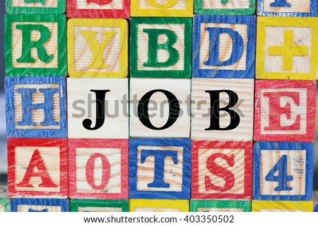 Job search with wooden letter cubes concept - stock photo