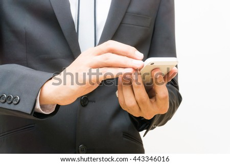Job serch young business asian man using his smart phone on the blank white background