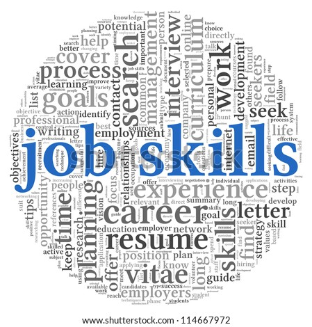 Job skills concept in word tag cloud on white background - stock photo