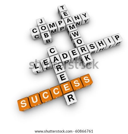 job strategy crossword (cubes crossword series) - stock photo