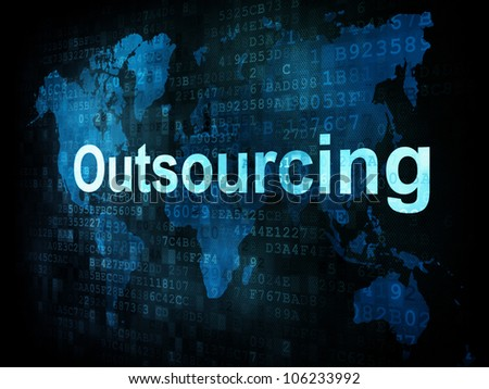 Job, work concept: pixelated words Outsourcing on digital screen, 3d render - stock photo