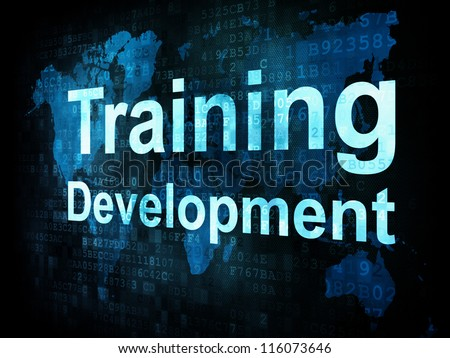 Job, work concept: pixelated words Training Development on digital screen, 3d render - stock photo