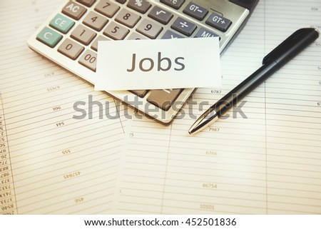 job work with calculator and documents