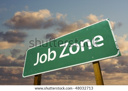 Job Zone Green Road Sign Over Dramatic Clouds and Sky. - stock photo