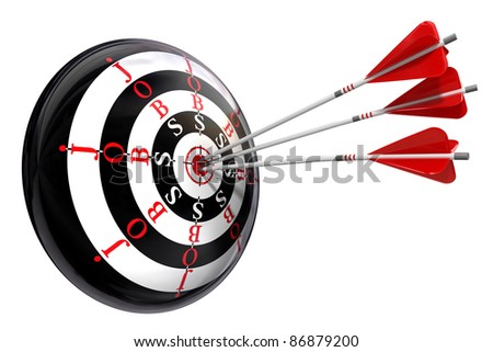 jobs concept target with three arrows isolated on white background