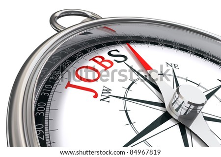 jobs direction indicated by compass conceptual image